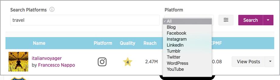 Platform Search search by social platform