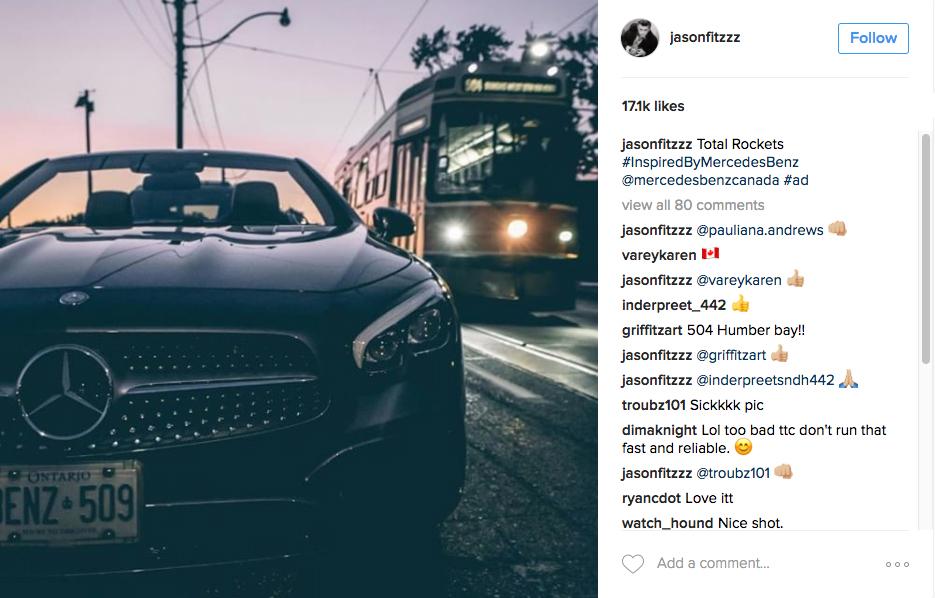 mercedes influencer promoted posts