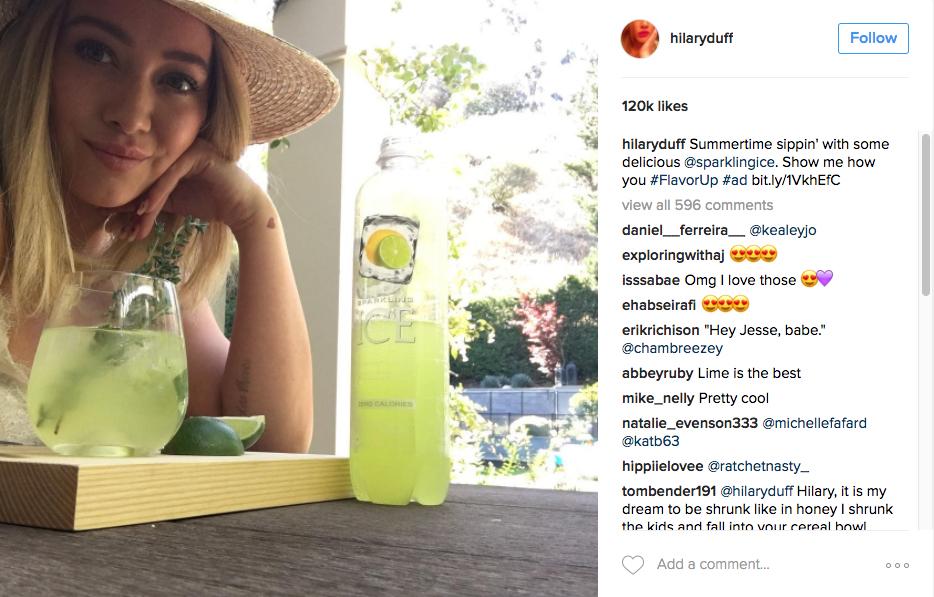 Celebrity Sponsorships Instagram Hillary Duff Sponsored Content