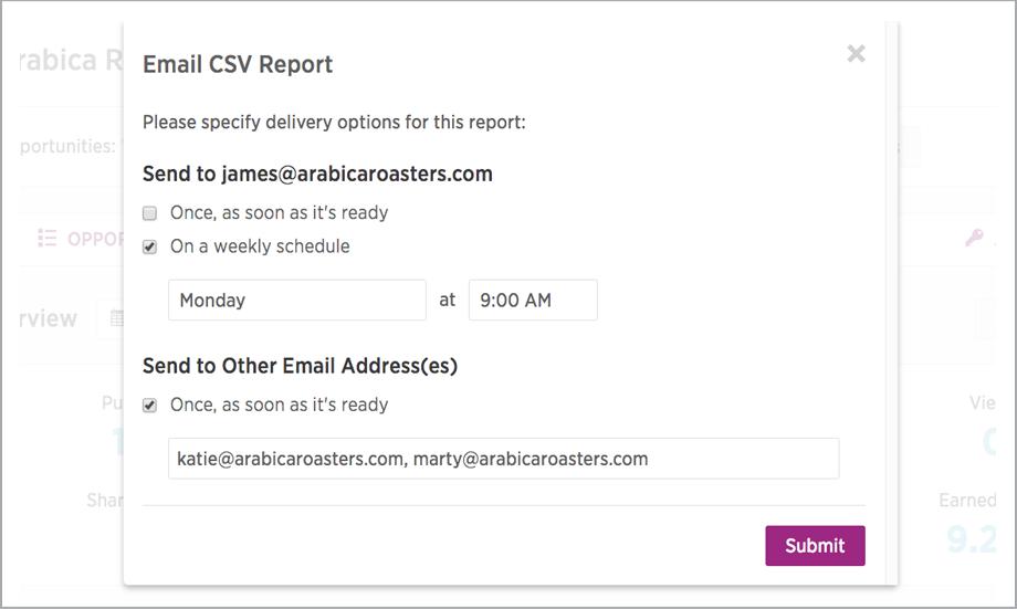 Analytics Exportable Reporting