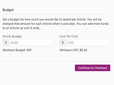 ContentAmp Set Your Budget