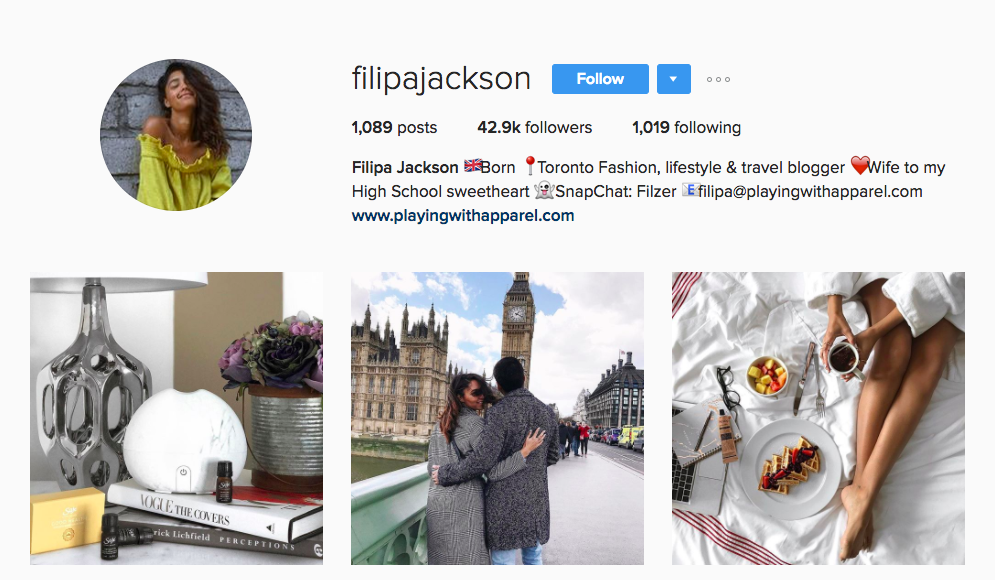 Filipa Jackson Canadian Social Media Influencer