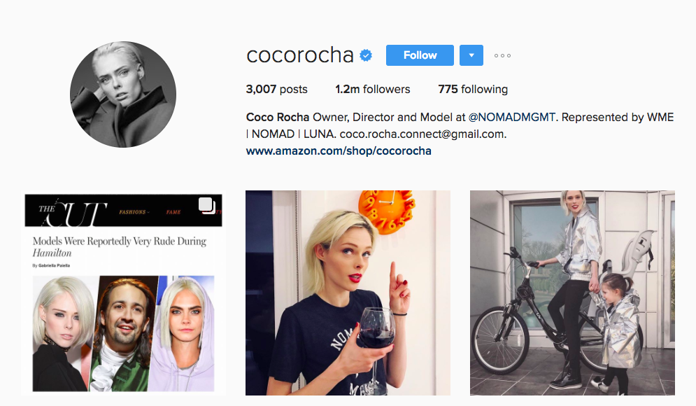 Coco Rocha Canadian Instagram Influencer
