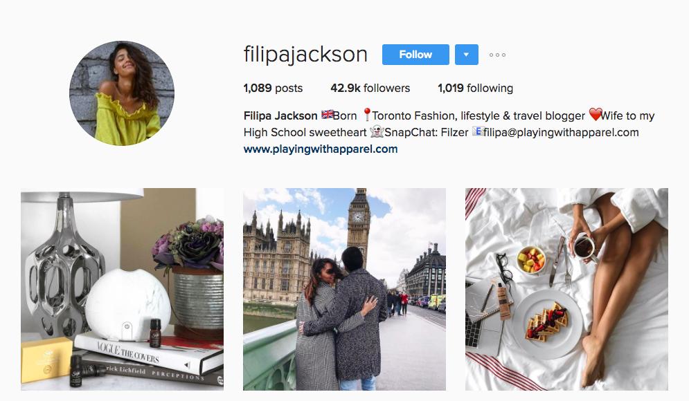 Filipa Jackson Canadian Social Media Influencer