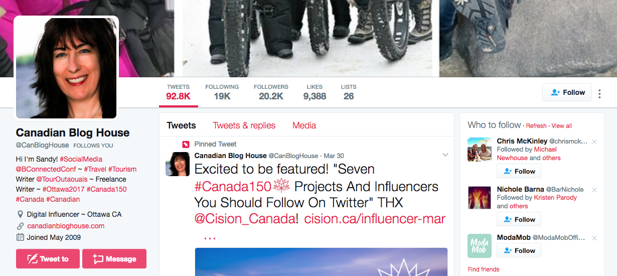Canada Social Media Influencer Canadian Blog House