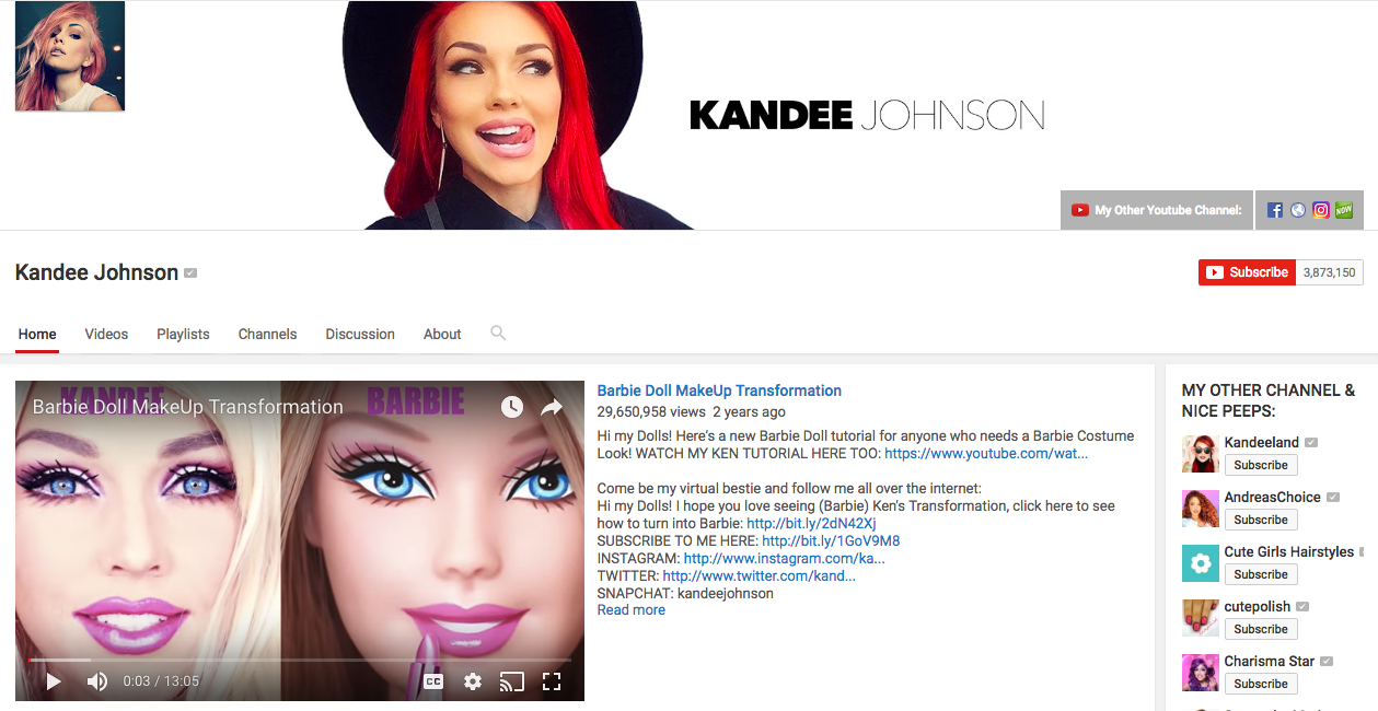 Kandee Johnson YouTube Beauty Influencer