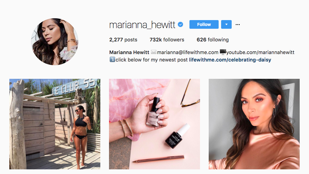 Marianna Hewitt Top Beauty Influencer