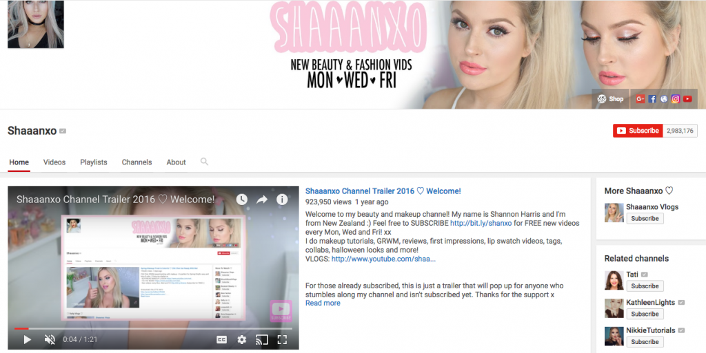 Shaaanxo Top Beauty Influencer
