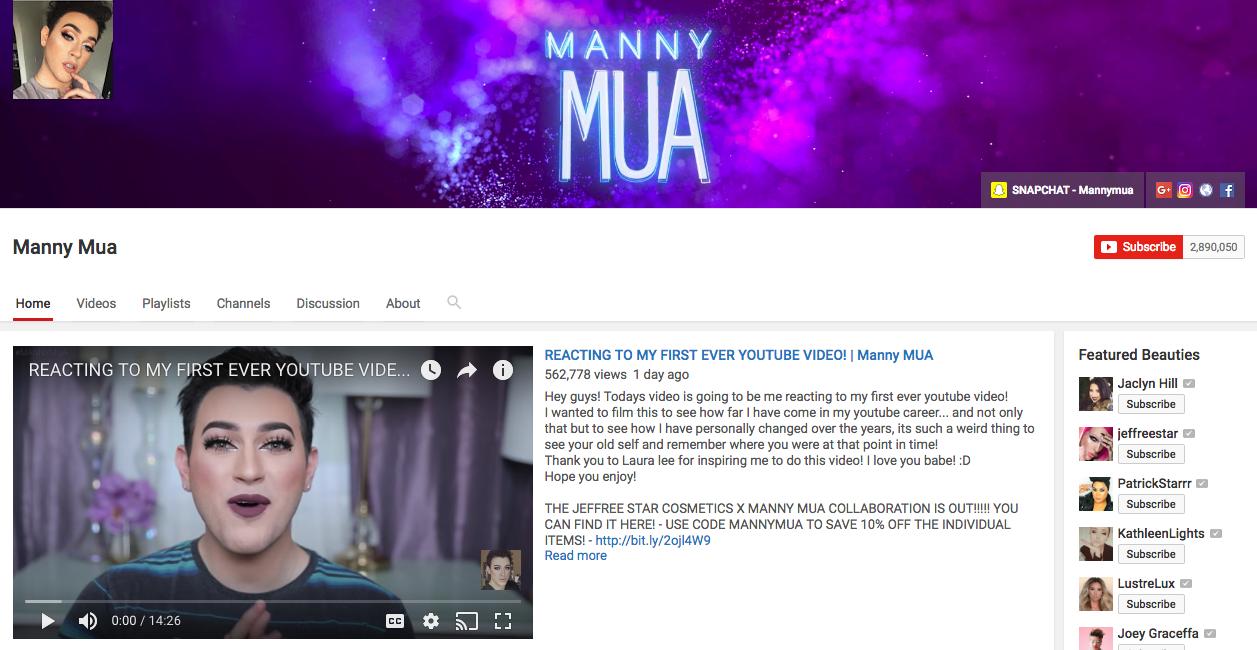 Manny Mua YouTube Beauty Influencer