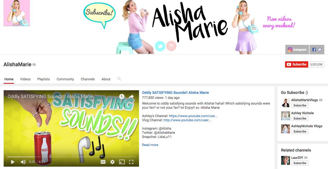 Alisha Marie Top YouTube Influencer