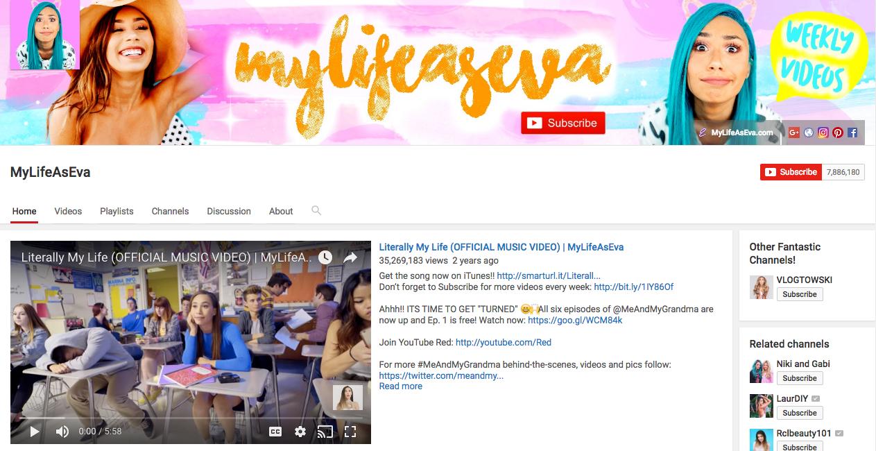My Life As Eva Top YouTube Influencer