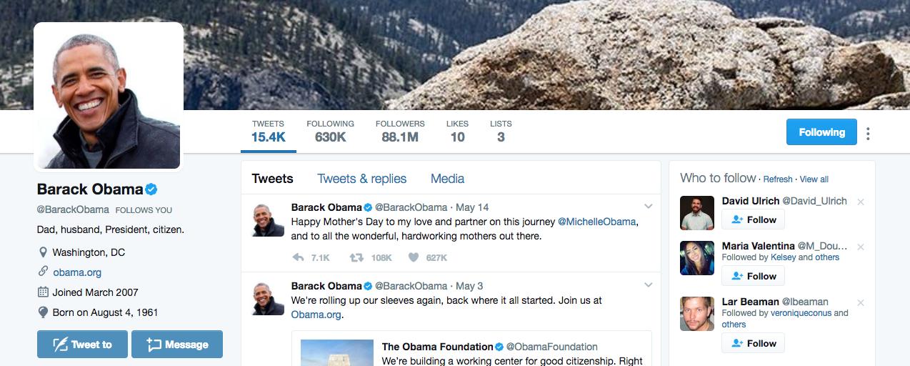 Top Twitter Influencer Barack Obama