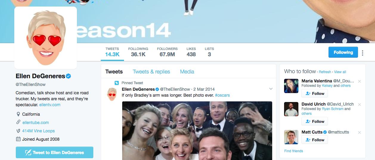 Ellen DeGeneres Top Twitter Influencer