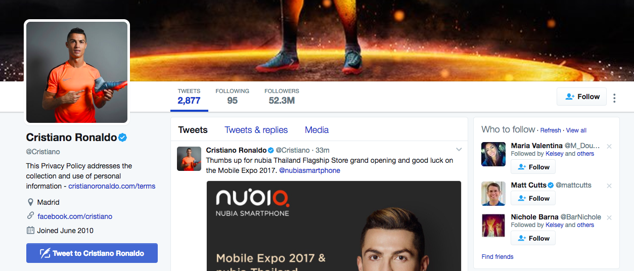 Cristiano Ronaldo Top Twitter Influencers