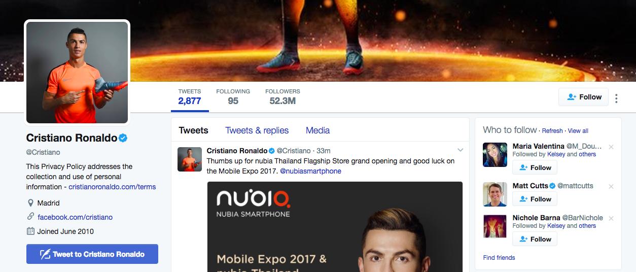 Cristiano Ronaldo Top Twitter Influencers