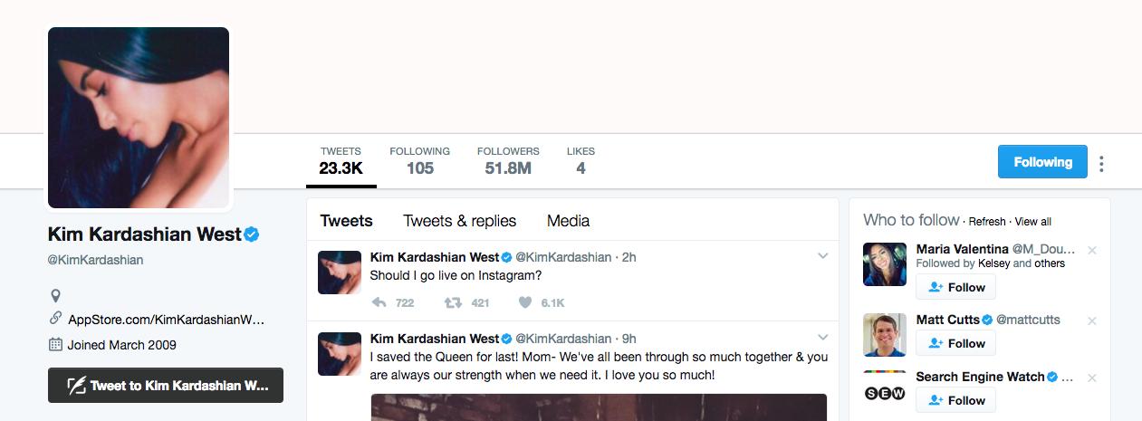 Kim Kardashian West Top Twitter Influencer