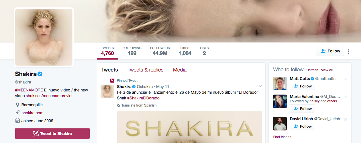 Top Twitter Influencer Shakira