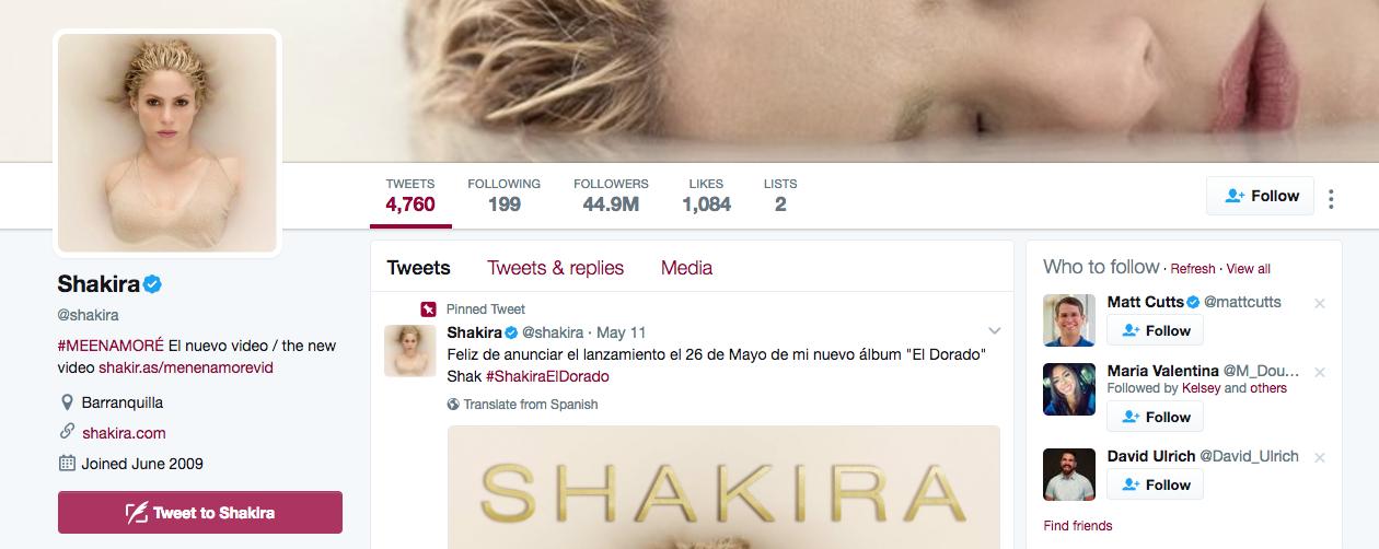 Top Twitter Influencer Shakira
