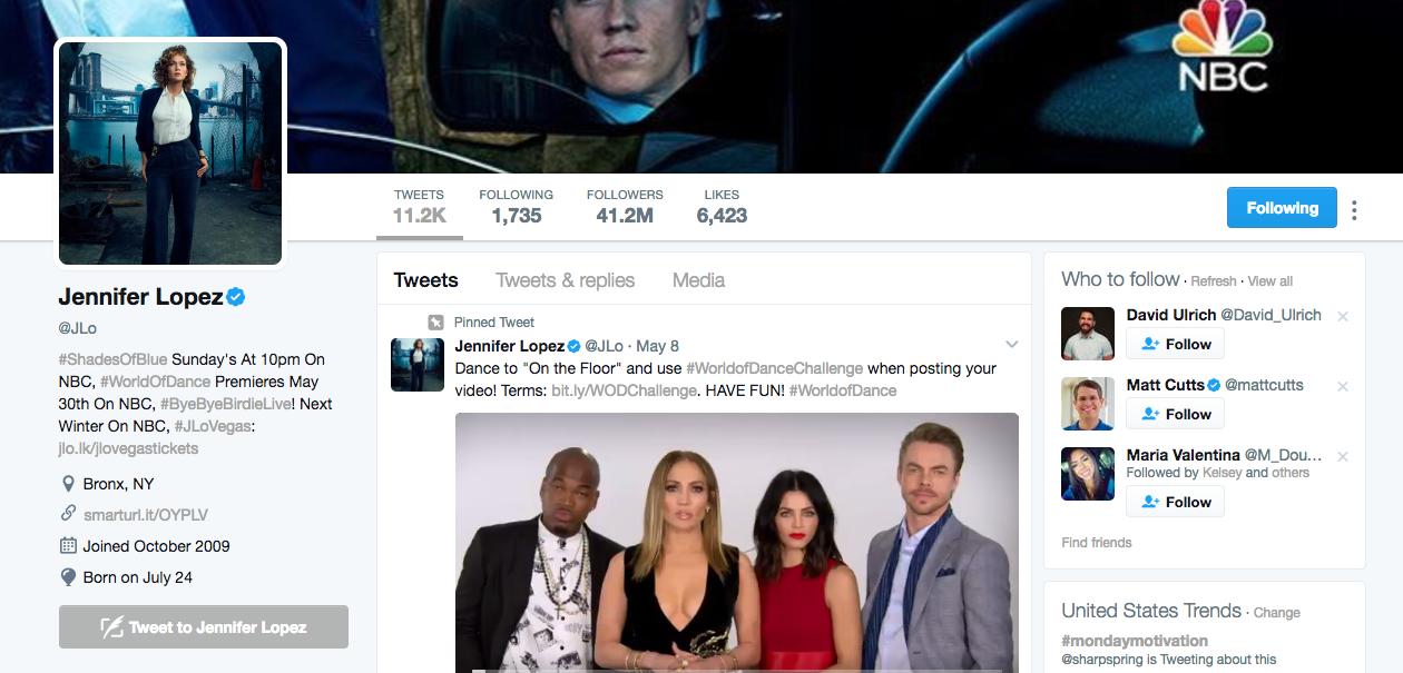 Jennifer Lopez Top Twitter Influencer
