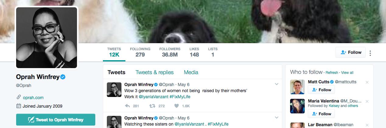 Oprah Winfrey Top Twitter Influencer
