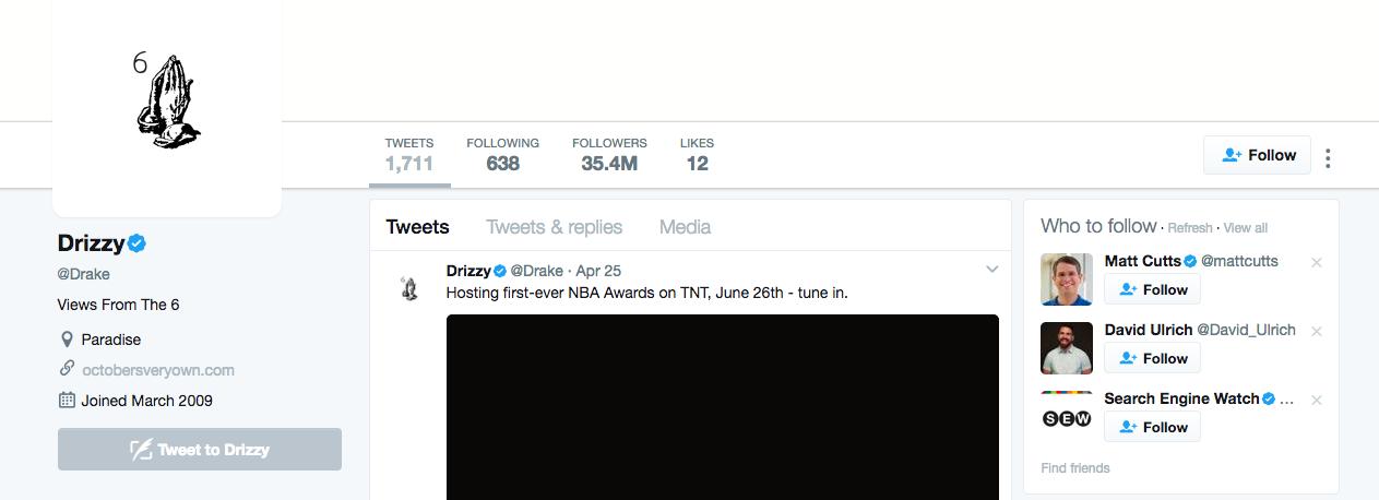 Top Twitter Influencer Drake