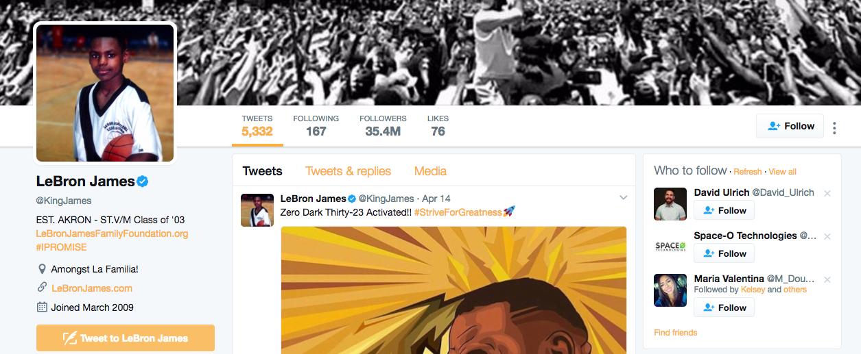 LaBron James Top Twitter Influencer
