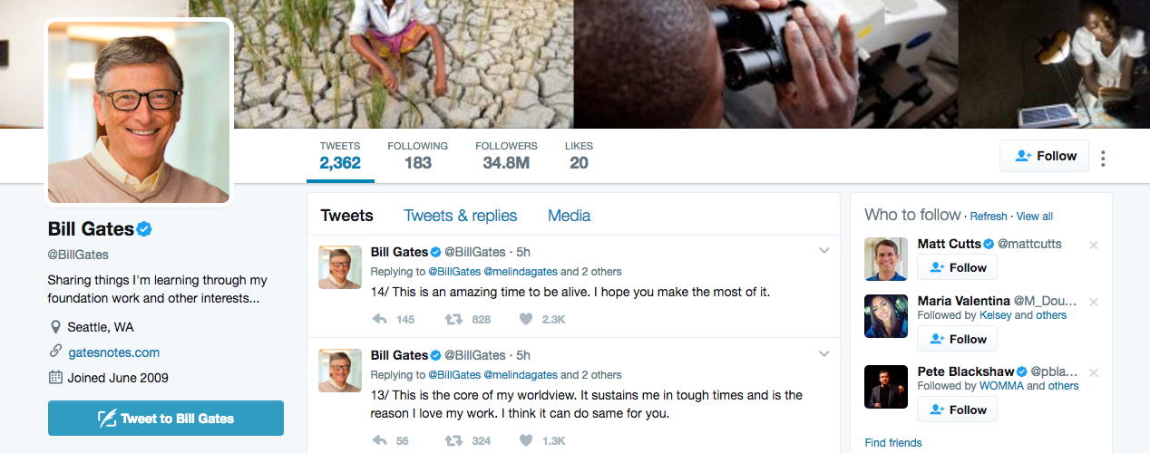 Bill Gates Top Twitter Influencer
