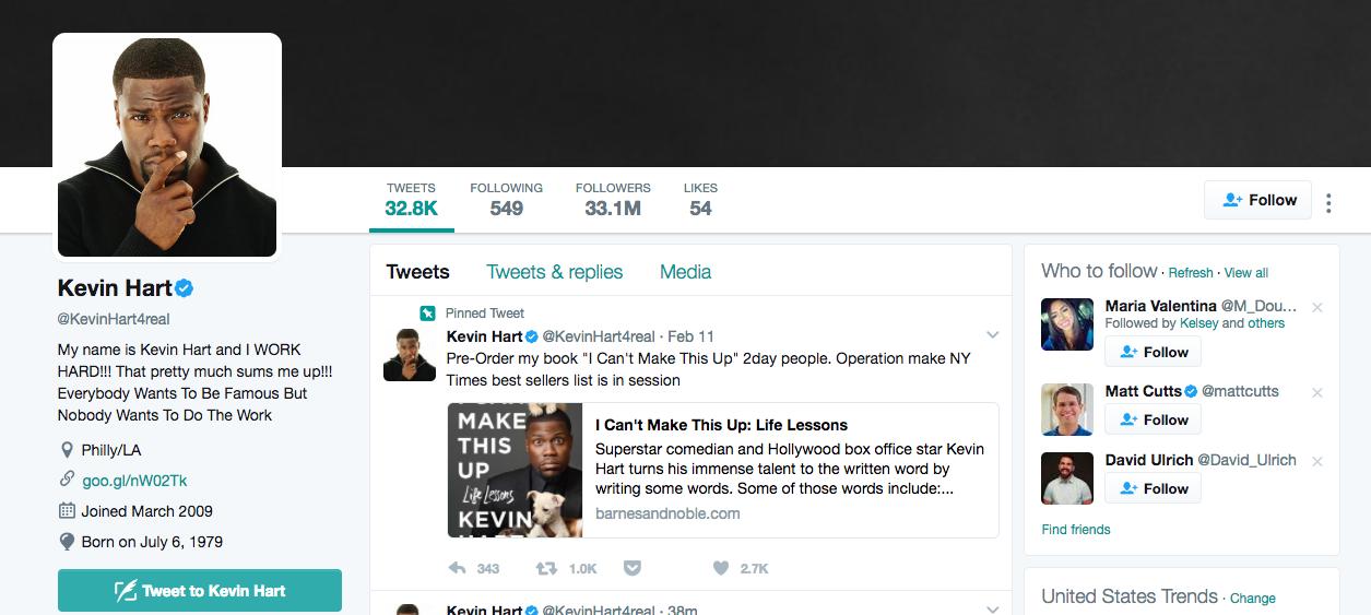 Top Twitter Influencer Kevin Hart