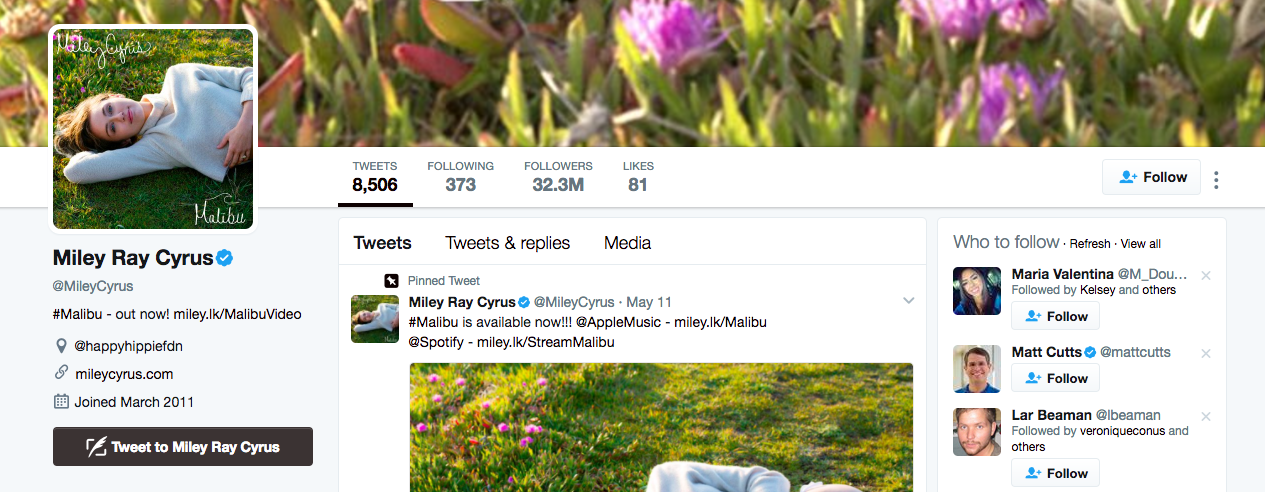 Miley Ray Cyrus Top Twitter Influencer