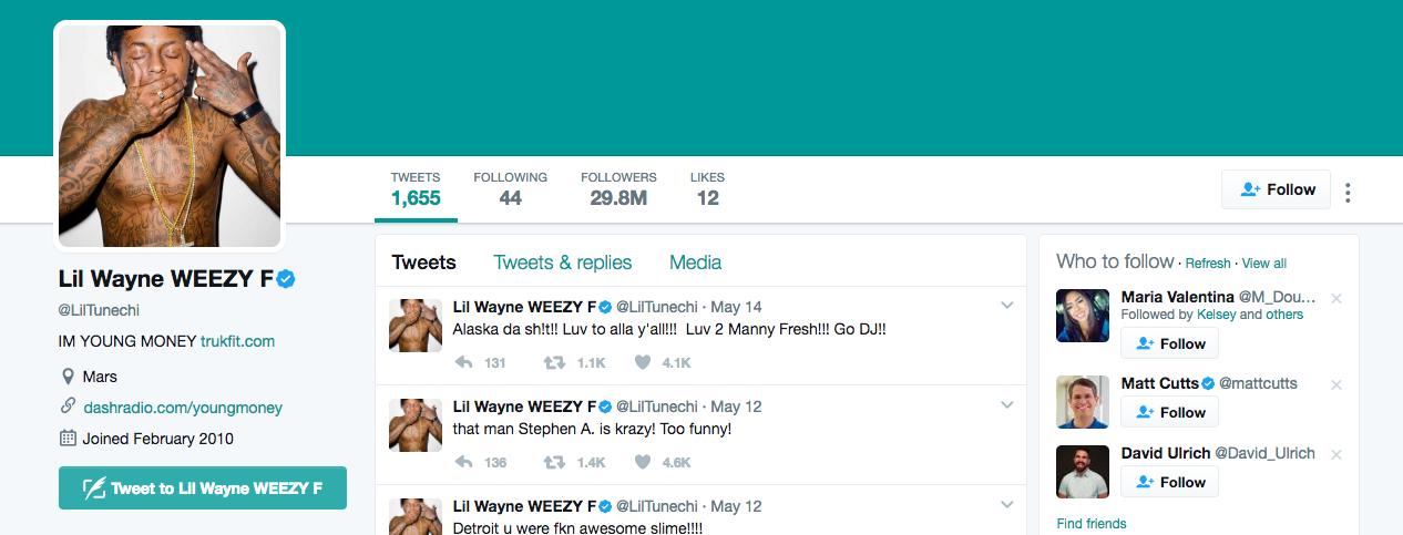 Lil Wayne Top Twitter Influencer