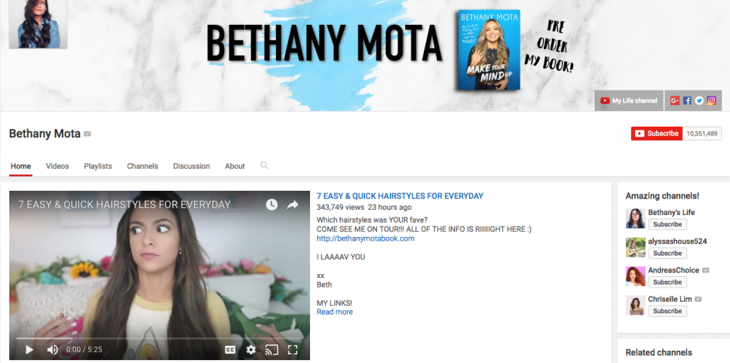 Bethany Mota Top Hispanic Social Media Influencer