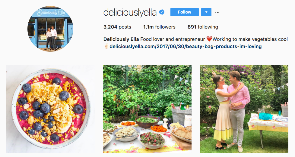 Deliciously Ella Top Foodie Influencer