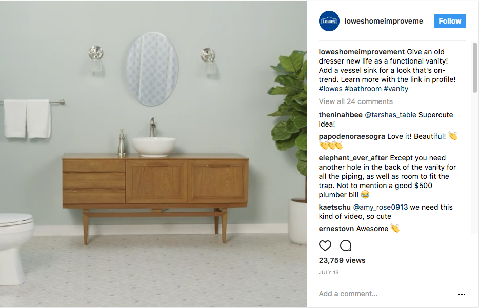 Lowes Home Improvement Instagram Content Marketing
