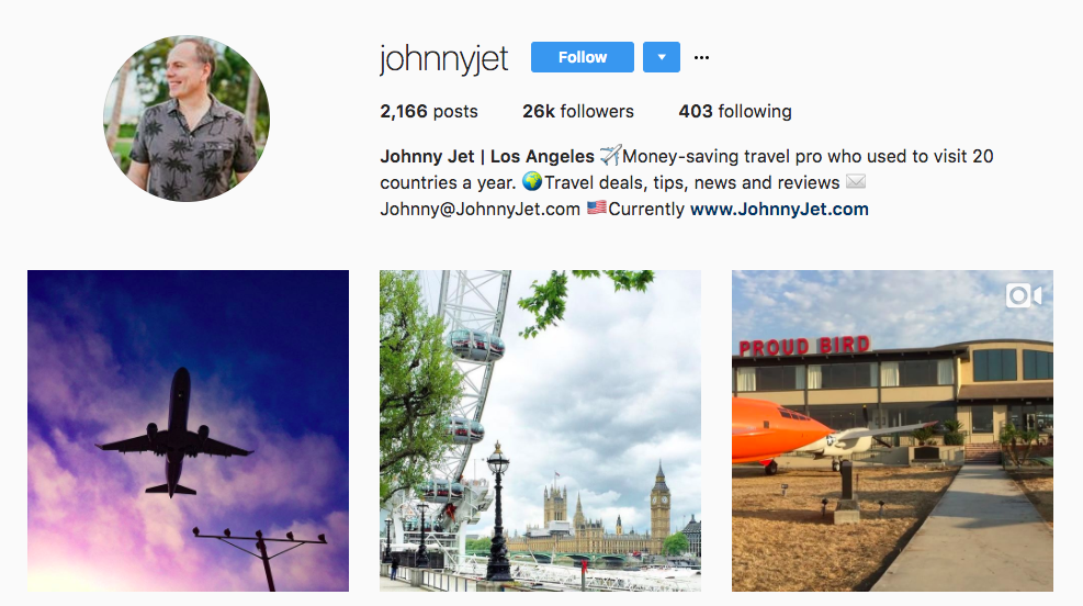 Johnny Jet Top Travel Influencer