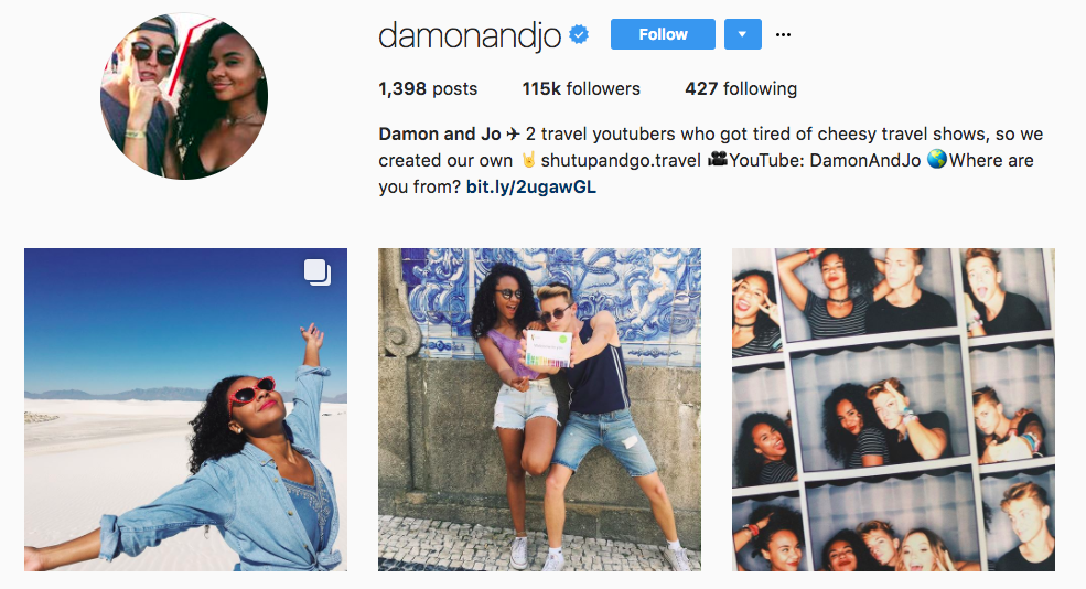 Damon and Jo top Travel Influencers