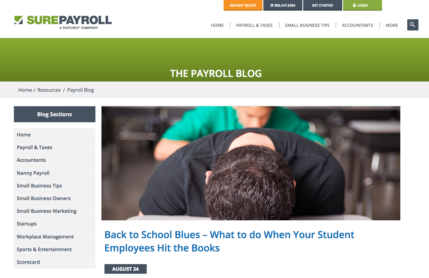 Sure Payroll B2B Content Marketing Examples