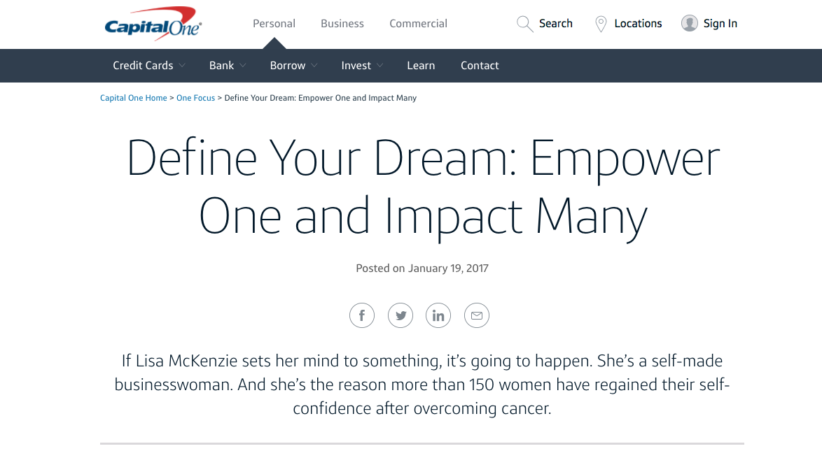 CapitalOne B2C Content Marketing Examples