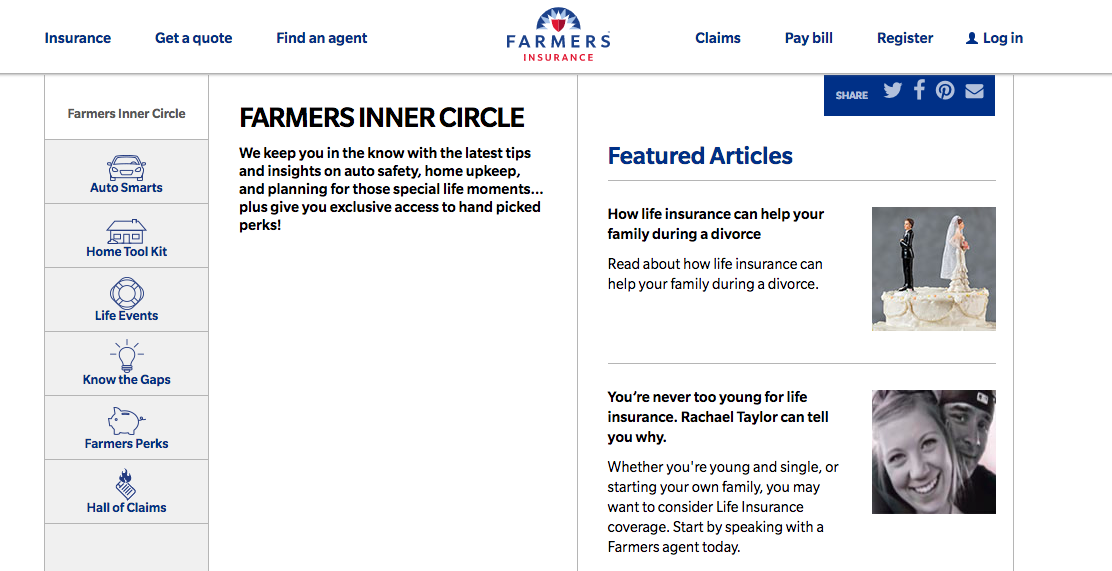 Farmers Insurance B2C Content Marketing Examples
