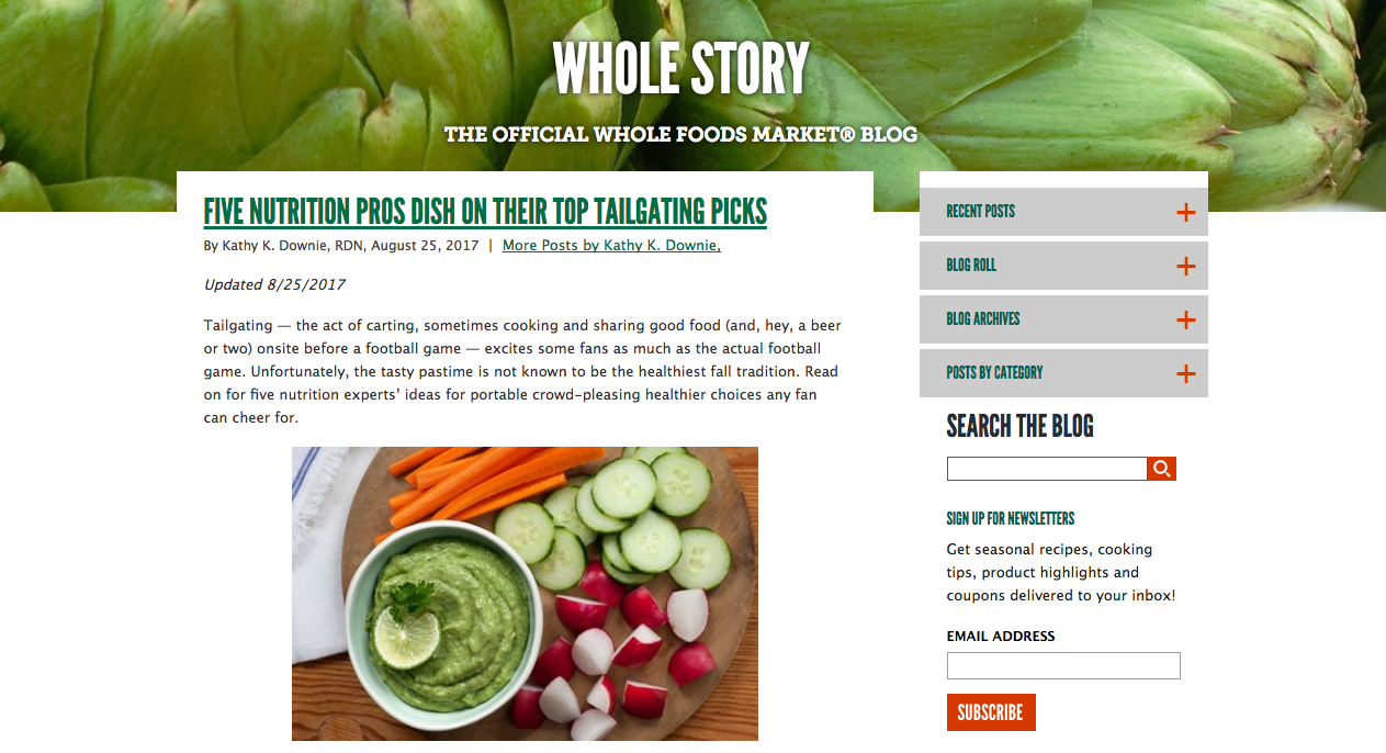 Whole Foods Content Marketing Brands