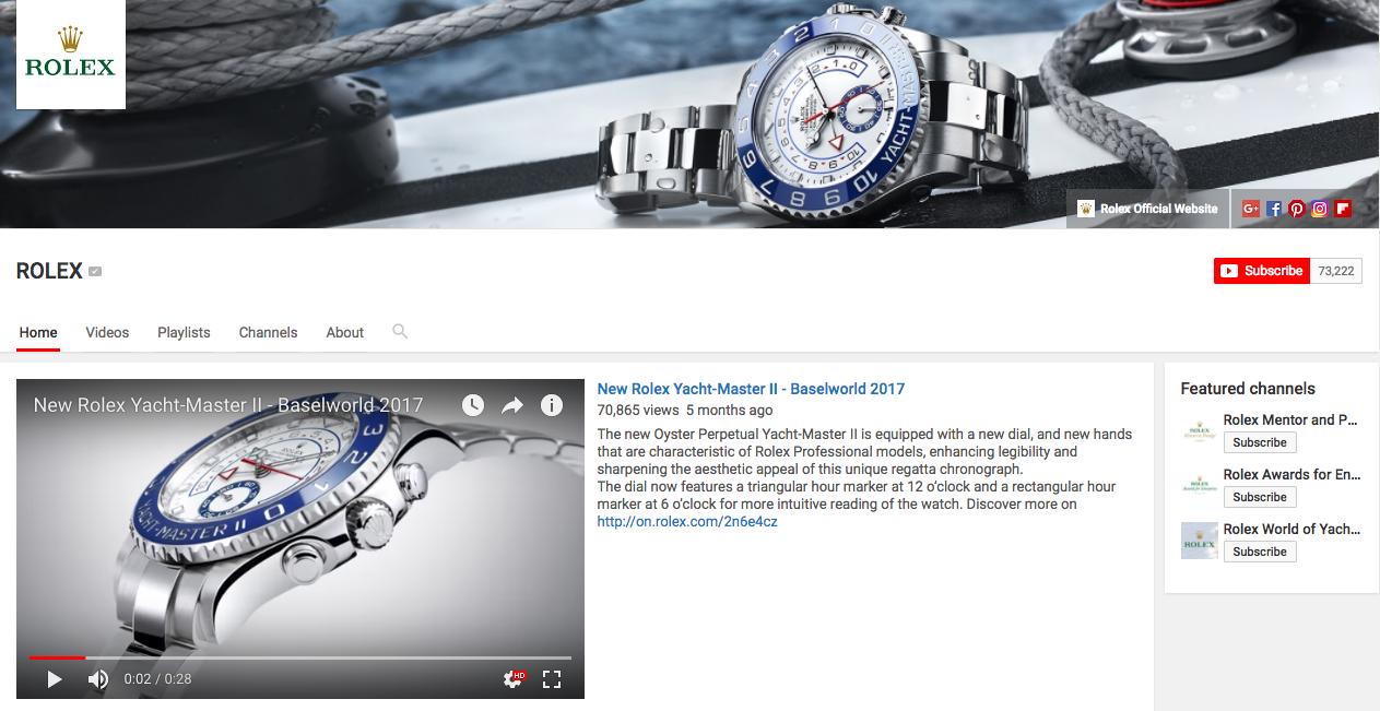 Rolex Content Marketing Brands