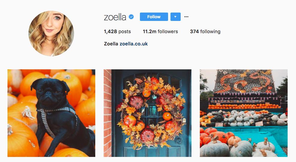 Instagram Influencer Zoella