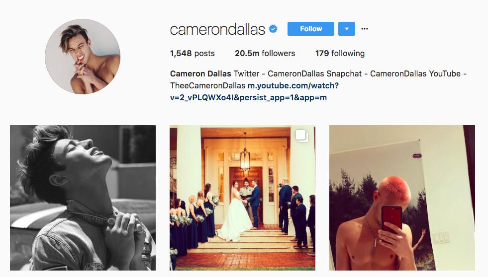 2017 Top Instagram Influencers Cameron Dallas