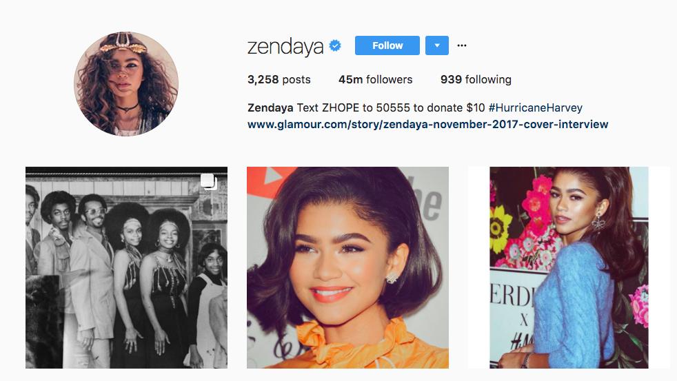 Zendaya Top Instagram Influencer