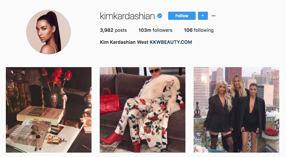 Kim Kardashian Top Instagram Influencers