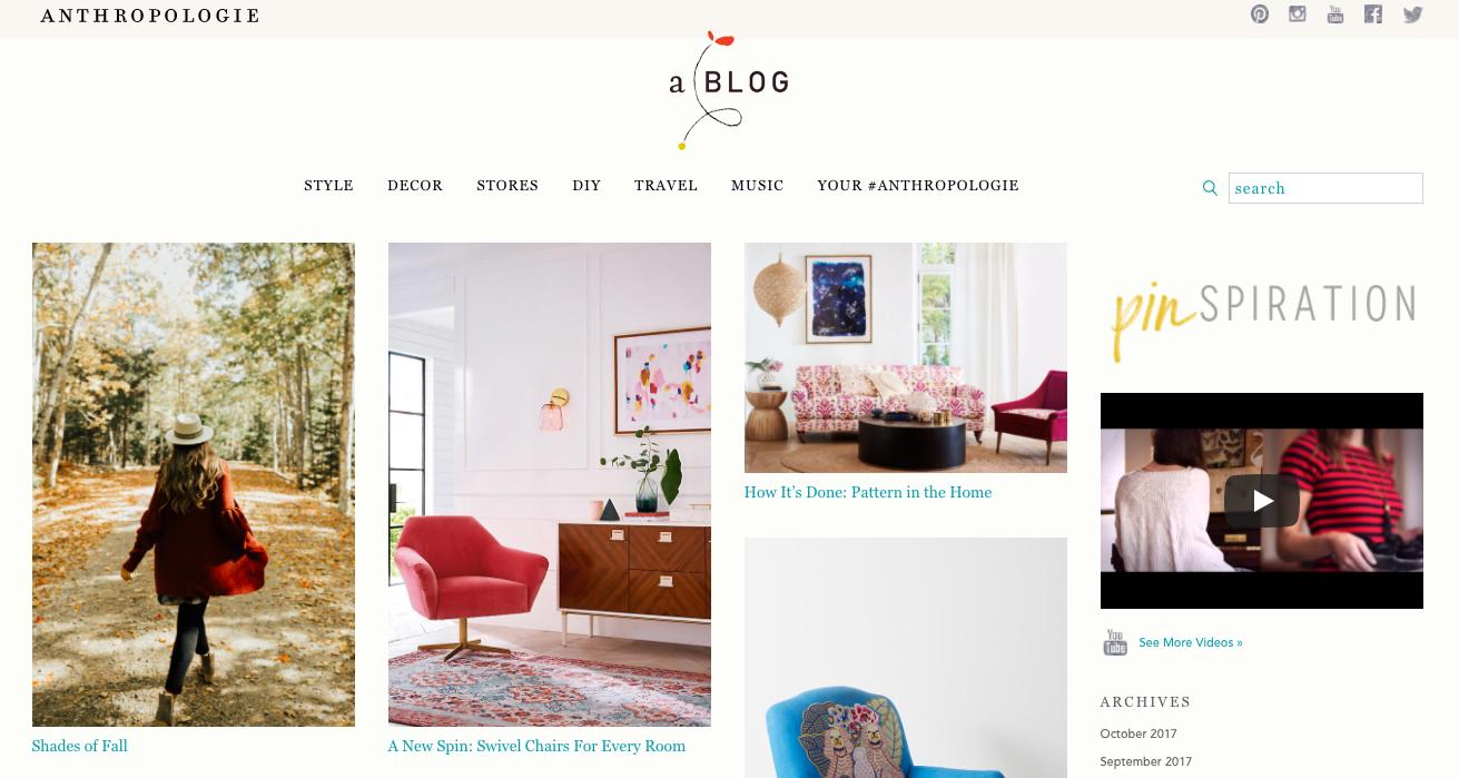 Fashion Content Marketing example - style blog