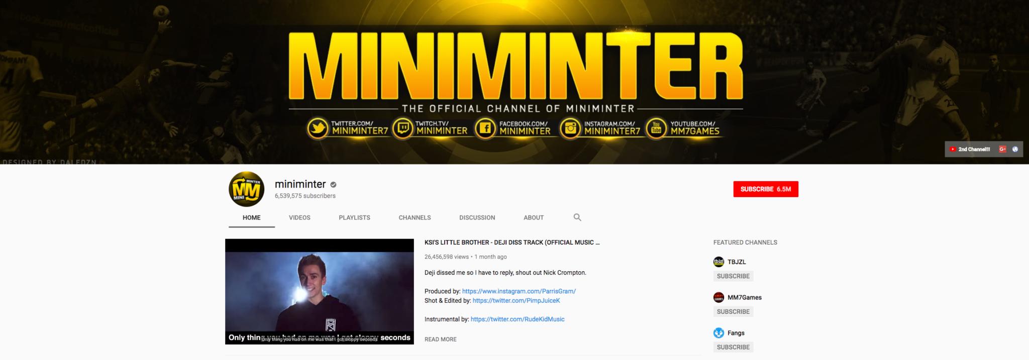 miniminter top gaming influencers