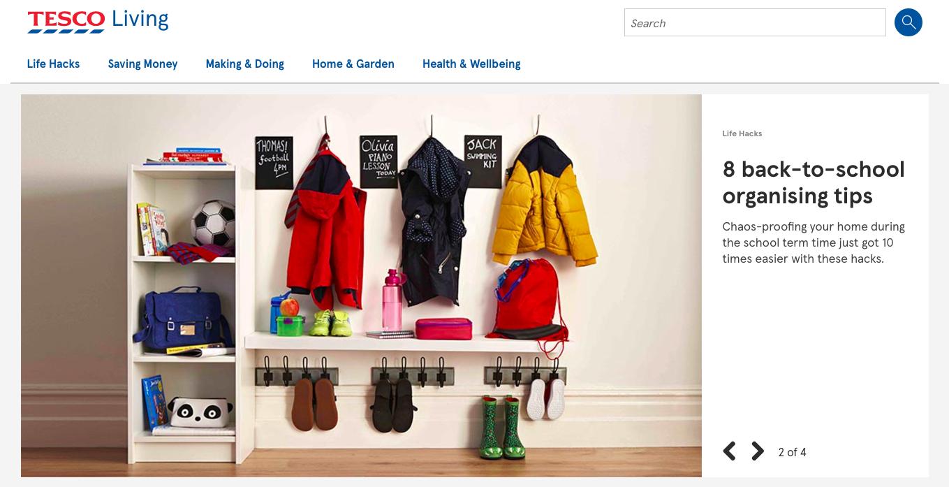 Tesco Content Marketing Design Example