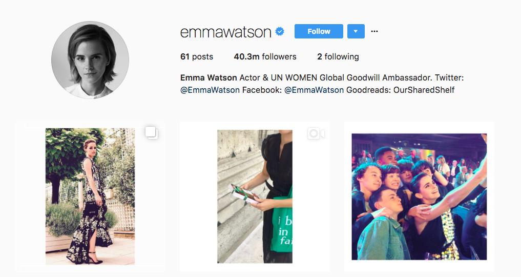 Emma Watson Top Instagram Influencers 2017