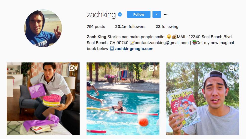 Zach King 2017 Top Instagram Influencer