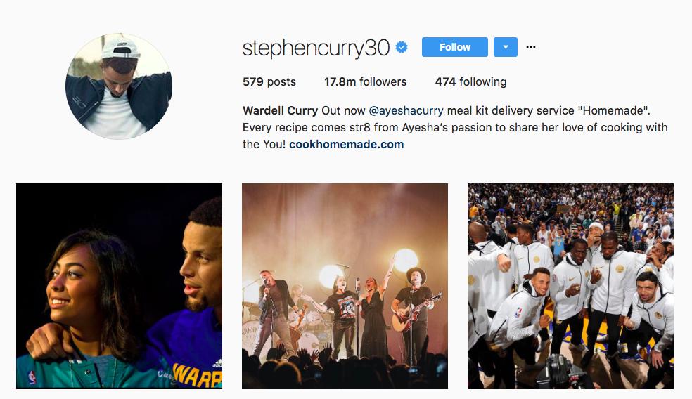 Stephen Curry Instagram Influencer